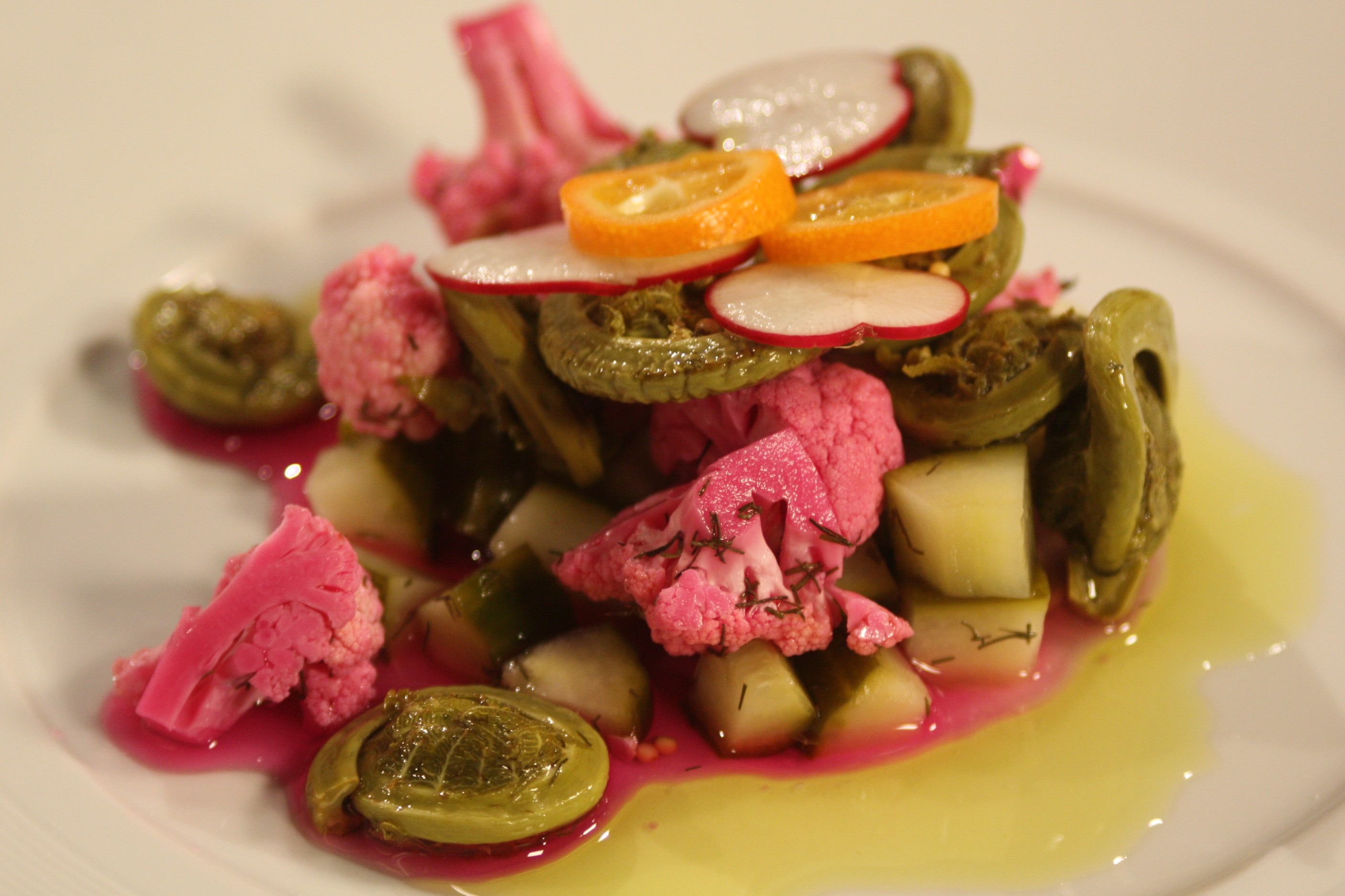 Fiddlehead & Pickled Vegetable Salad with Citrus Oil