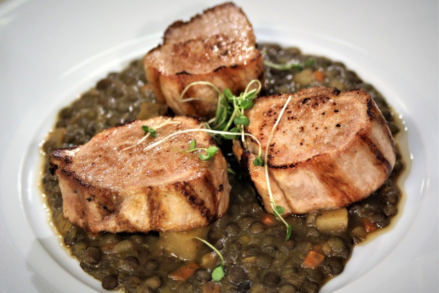 Medallion of Pork with Lentils Ragout