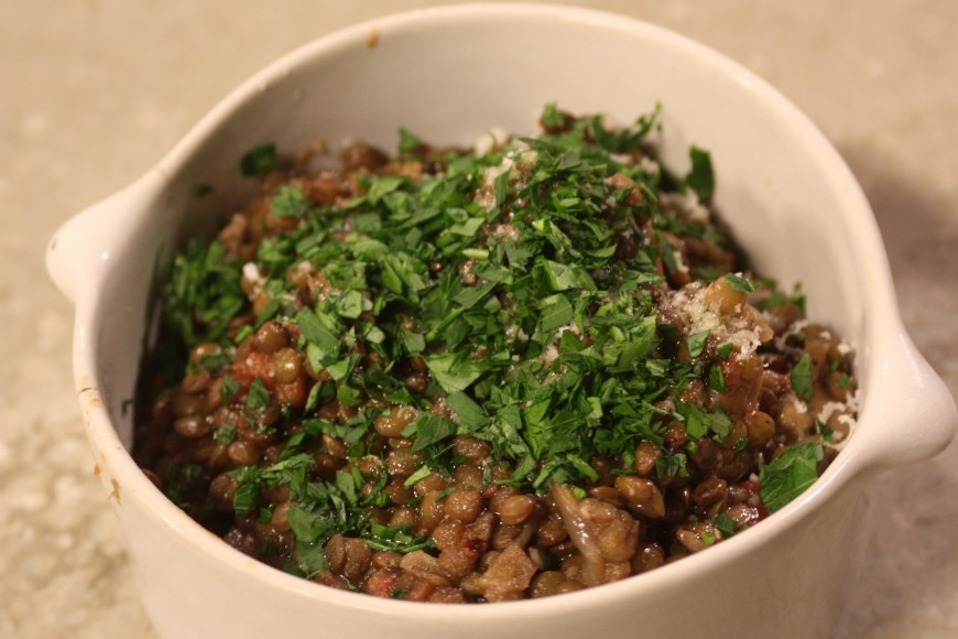 Lentils with Vermont Salumi Red Wine and Garlic Sausage