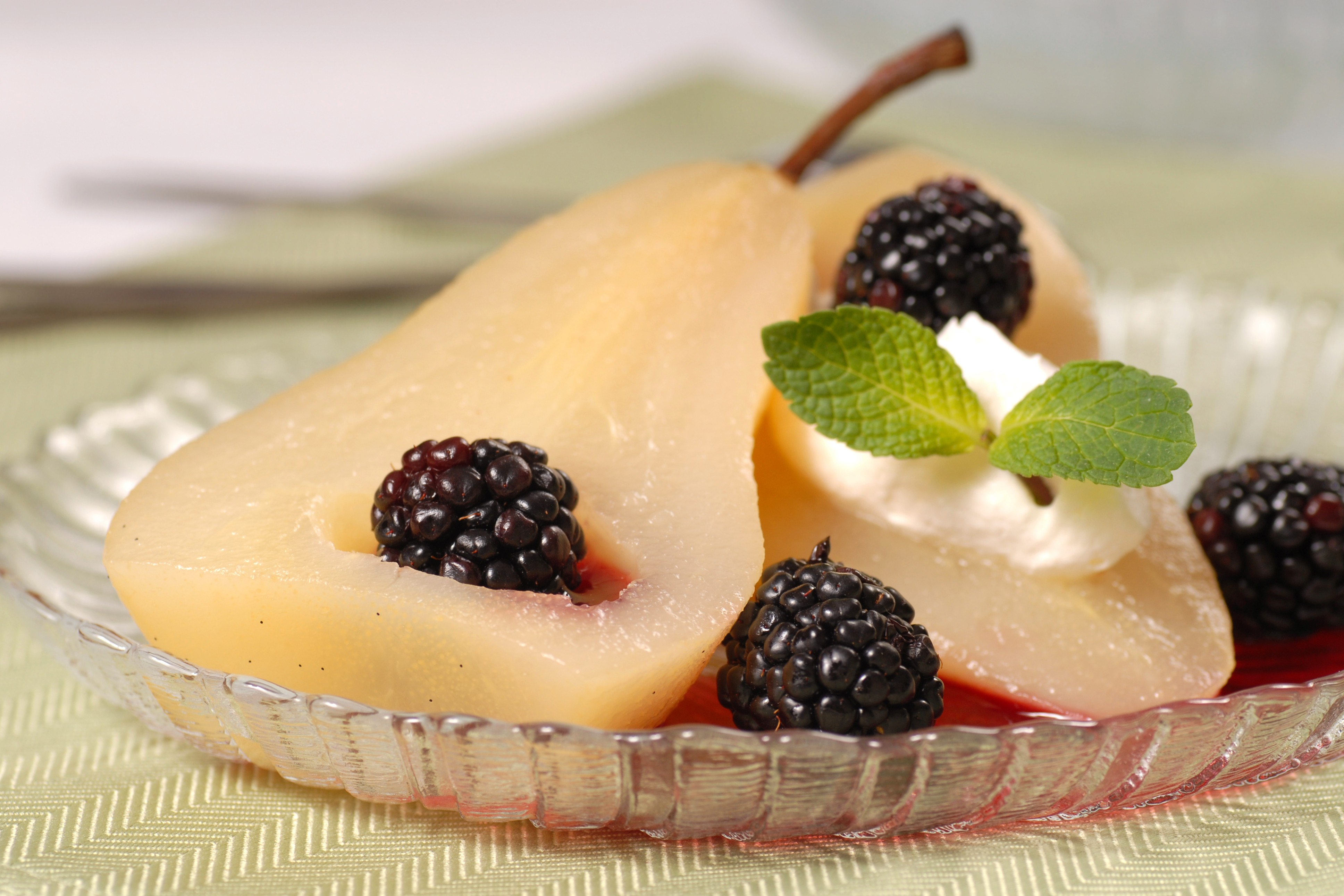 Poached Pears in Fruit Wine
