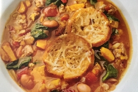 Hearty Tuscan Soup with Parmesan Croutons
