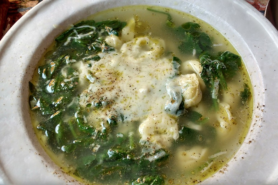 Tortellini and Greens in a Rich Garlic Broth