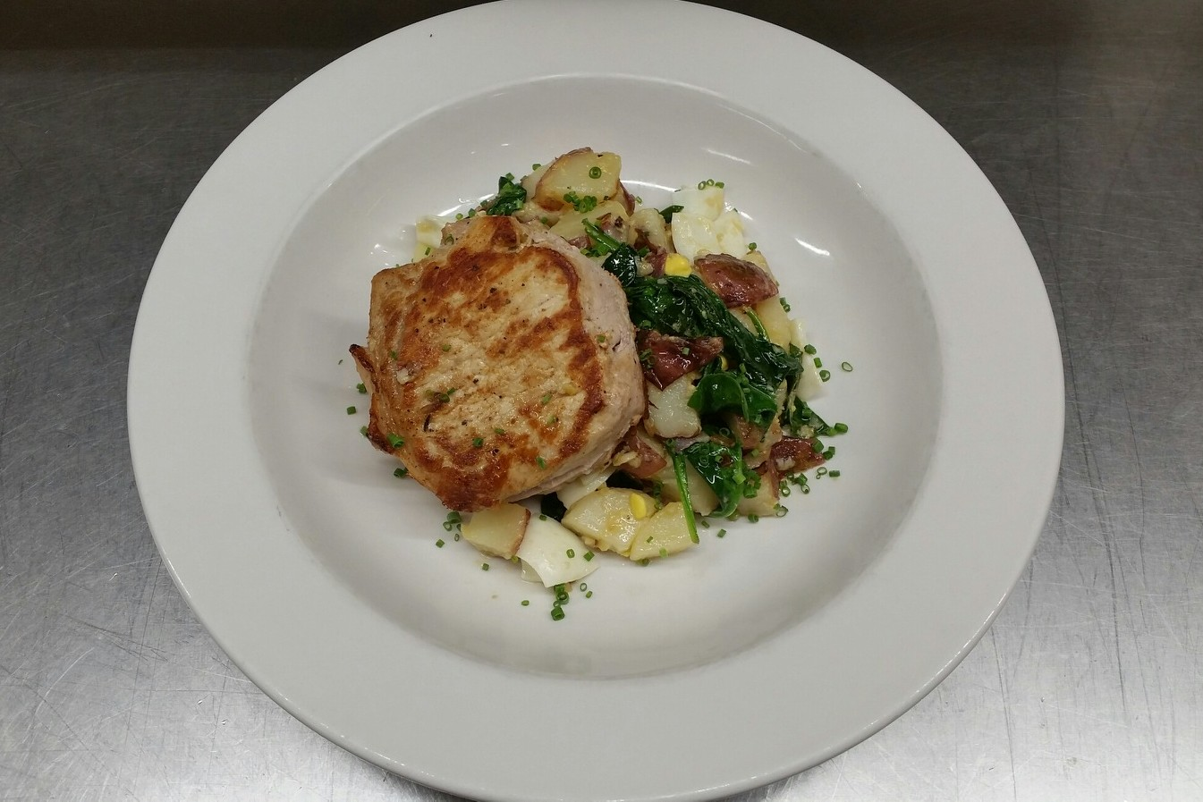 Seared Pork Chops on Warm Potato Salad