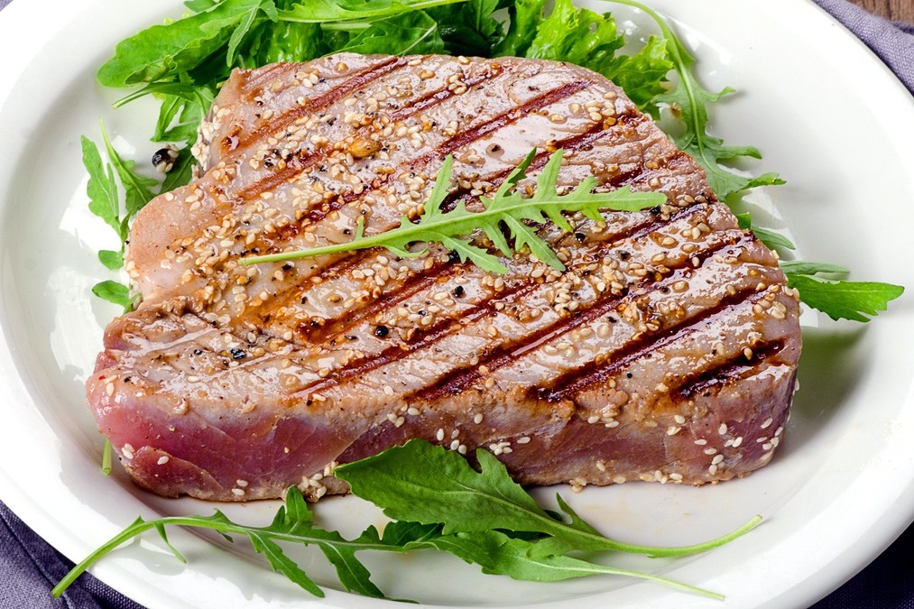 Grilled Tuna with Roasted Beet Vinaigrette