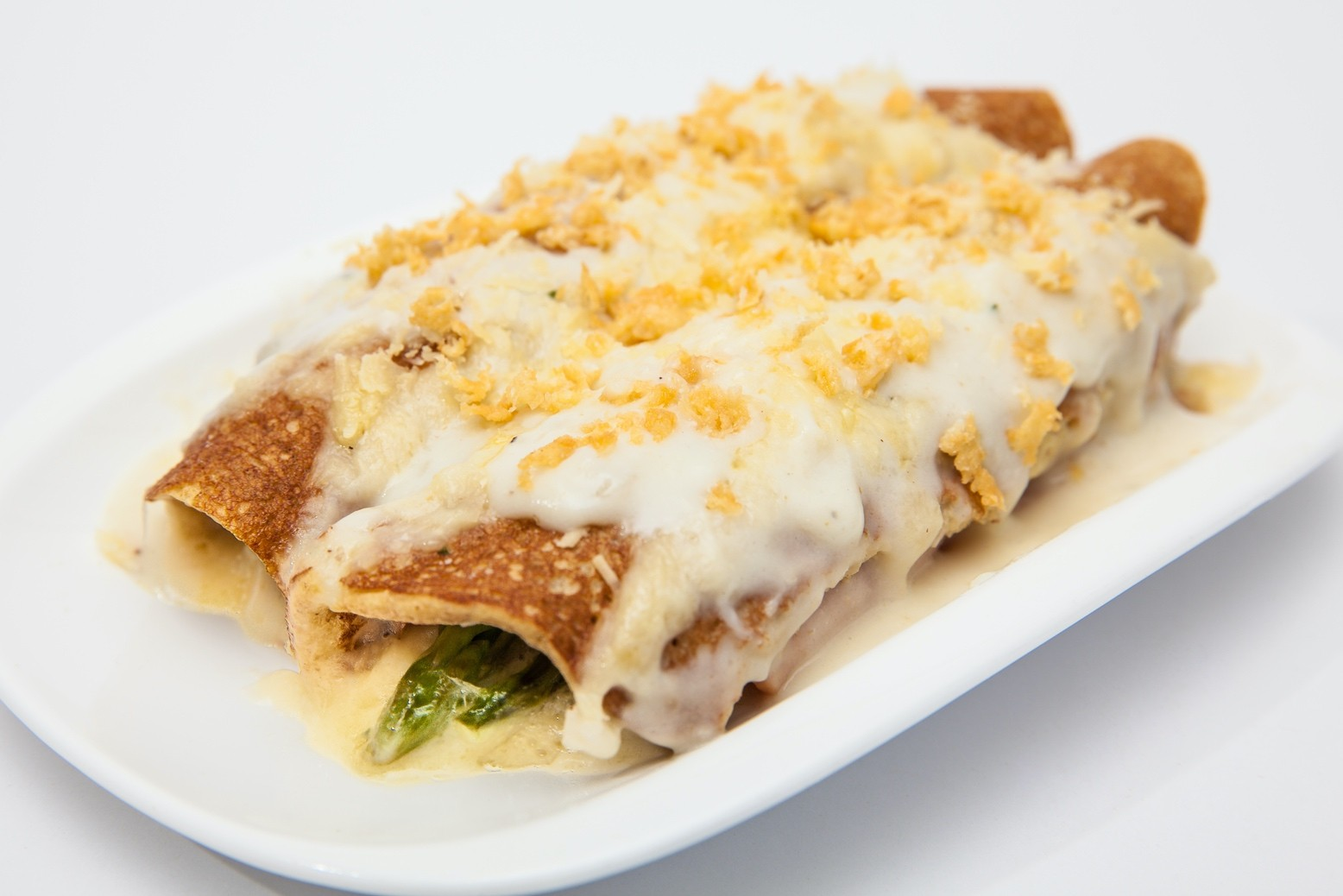 Asparagus & Mushroom Stuffed Crepes with Sherry Cream Sauce