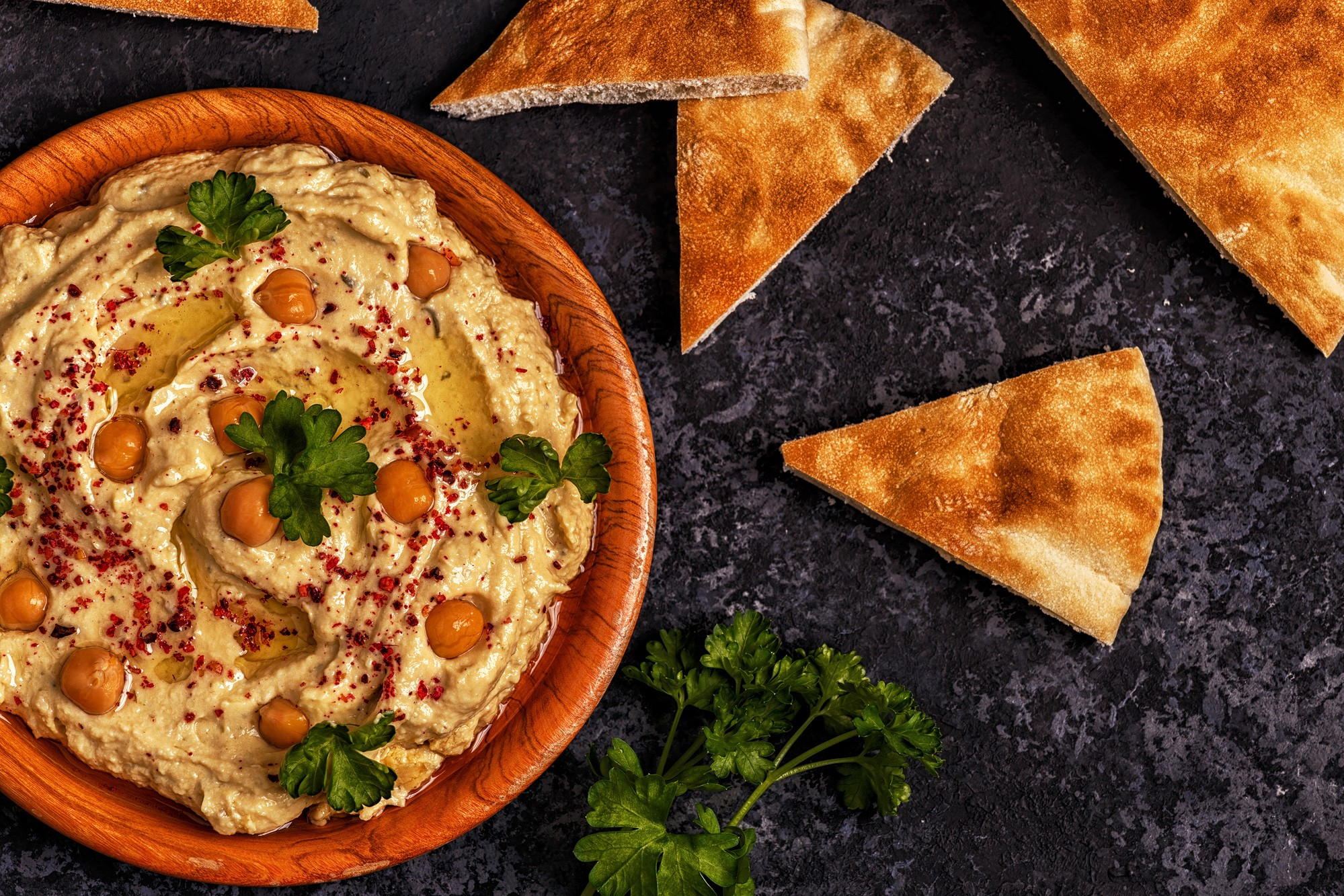 Roasted Red Pepper Hummus Pitas