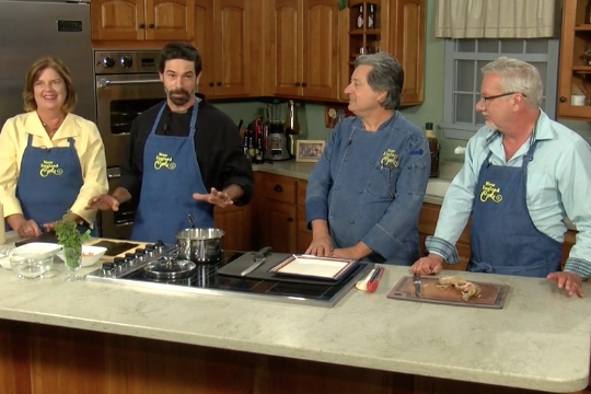 Host Tony & Sandy and Co-Host Chef Jean-Louis and Chef Christoph Wiesenseifen making Ninja Roll, Chimichurri Sauce for Salmon and BBQ Pork Ribs